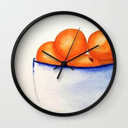 Clementines Watercolor Wall Clock