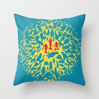 marx Throw Pillows featuring Hunted! by Ivan Guerrero