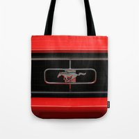 mustang Tote Bags featuring Mustang by Barbo's Art