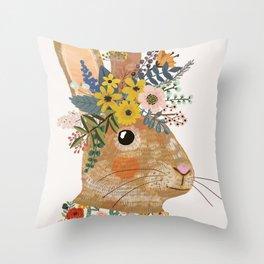 Foral Rabbit Throw Pillow