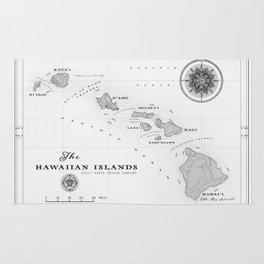 The Hawaiian Islands [Black & White] Map Print Rug