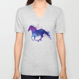 Running Horse Watercolor Silhouette Unisex V-Neck