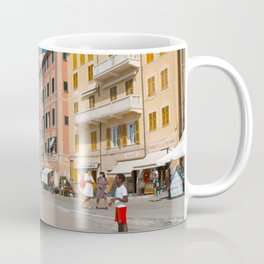 Amalfi, pastel dream houses with kids playing | Mediterranean Coast, Italy | Colorful travel photography in Europe | Horizontal art print Coffee Mug