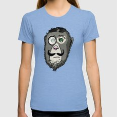 Detective Monkey Head Womens Fitted Tee SMALL Tri-Blue