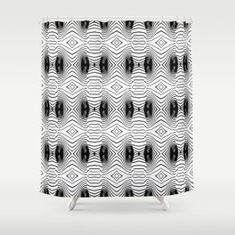 black wave lines  Shower Curtain