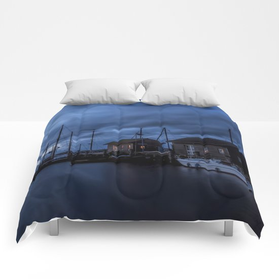 Blue memories- Blue hour at an harbour on an Island Comforters