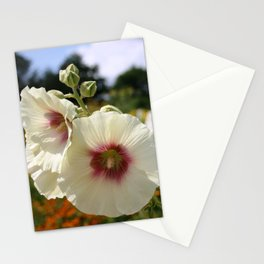 White and Red Hollyhock flower Stationery Cards