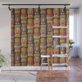 Tiki mask pattern Wall Mural