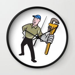 Plumber Presenting Monkey Wrench Isolated Cartoon Wall Clock