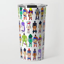 Superhero Butts - Power Couple on Violet Travel Mug