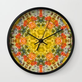 Marigold Kaleidoscope Photographic Pattern #2 Wall Clock