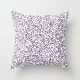 Pinkie Sketchy Flowers Throw Pillow