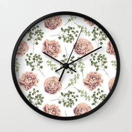 Roses Pattern on White Wall Clock
