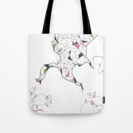 At Night the Lab Mice Bend Space and Time Tote Bag