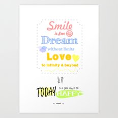 {ENG} SMILE · DREAM · LOVE Art Print