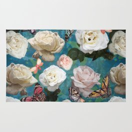 White Roses and Butterflies Rug