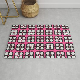 Geometric circle cross flowers check Pink Rug
