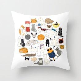 cute cat doodles circle #1 Throw Pillow