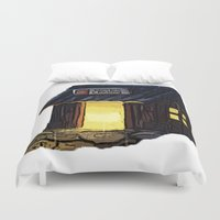 animal crossing Duvet Covers featuring Animal Crossing: Nooks Cranny by Makar Deku