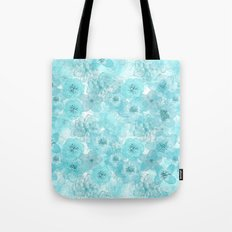 Turquoise aqua flower lace pattern on #Society6 Tote Bag