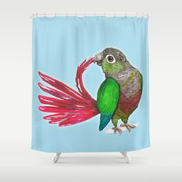 Preening green cheek conure Shower Curtain
