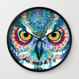 Colorful Horned Owl Art - Night Animal - Sharon Cummings Wall Clock