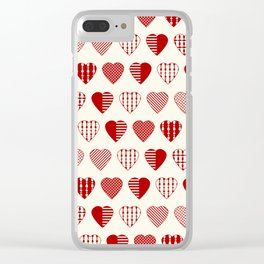 AFE Red Hearts Clear iPhone Case
