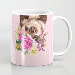 Flower Crown Baby Sloth in Pink Coffee Mug