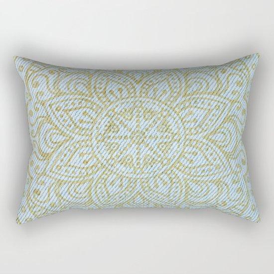Gold Mandala on Light Blue Jeans Rectangular Pillow