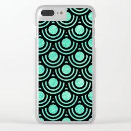 Mermaid Scales in Metallic Sea Foam Green Clear iPhone Case