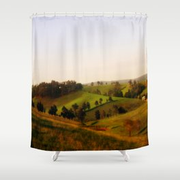 Morning shadows over the Alpine Ranges Shower Curtain