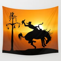 cowboy Wall Tapestries featuring cowboy silhouette by Laureenr