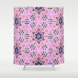 Star flower and buds Shower Curtain