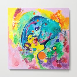 Joyful Elephant Metal Print