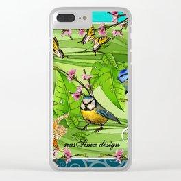 Birdy & Fishy spring blue Clear iPhone Case