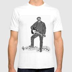 Rock 'N' Roll MEDIUM White Mens Fitted Tee