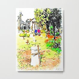 Barbarano Romano: gravestones and old women at the cemetery Metal Print