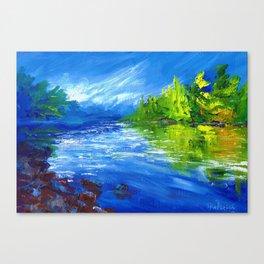 Blue River - Waikato In Autumn. New Zealand Art Canvas Print