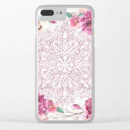Rose Gold Mandala Garden on Marble Clear iPhone Case