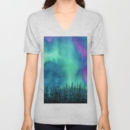 """Wilderness Lights"" Aurora Borealis watercolor landscape painting Unisex V-Neck"