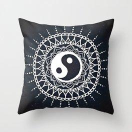 Yin Yang Mandala / White Mandala over stars Throw Pillow