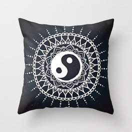 Yin Yang Mandala / White Mandala over stars Throw Pillow