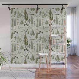 fern pattern white Wall Mural