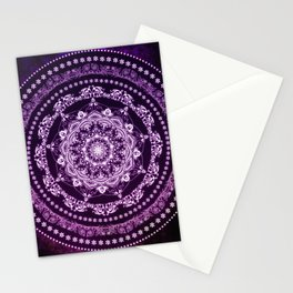 Purple Glowing Soul Mandala Stationery Cards