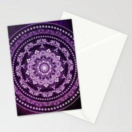 Purple Glowing Soul Mandala Stationery Cards