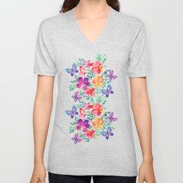 Summer Blooms & Butterflies on Dark Purple Unisex V-Neck