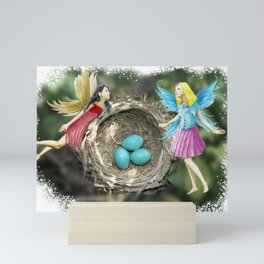 Tree Fairies At The Robin Nest Mini Art Print