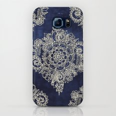 Cream Floral Moroccan Pattern on Deep Indigo Ink Slim Case Galaxy S7