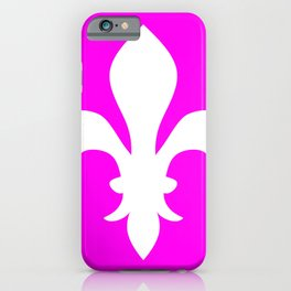 Fleur de Lis (White & Magenta) iPhone Case