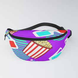 Graphic Polarized 3d Glasses Red Blue & Buttered Popcorn Synthwave Fanny Pack